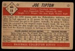 1953 Bowman B&W #13  Joe Tipton  Back Thumbnail
