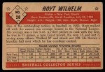 1953 Bowman Black and White #28  Hoyt Wilhelm  Back Thumbnail