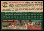 1954 Topps #17  Phil Rizzuto  Back Thumbnail