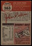 1953 Topps #263  Johnny Podres  Back Thumbnail