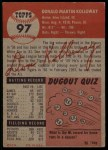 1953 Topps #97  Don Kolloway  Back Thumbnail