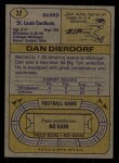 1974 Topps #32 ONE Dan Dierdorf  Back Thumbnail