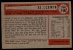 1954 Bowman #137  Al Corwin  Back Thumbnail
