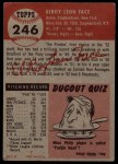 1953 Topps #246  Roy Face  Back Thumbnail