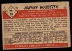 1953 Bowman Black and White #35  John Wyrostek  Back Thumbnail