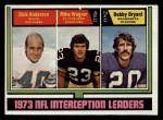 1974 Topps #332   -  Dick Anderson / Mike Wagner / Bobby Bryant Interception Leaders Front Thumbnail