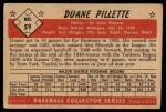 1953 Bowman B&W #59  Duane Pillette  Back Thumbnail
