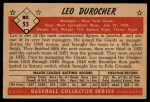 1953 Bowman #55  Leo Durocher  Back Thumbnail