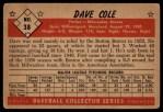 1953 Bowman Black and White #38  Dave Cole  Back Thumbnail