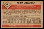 1953 Bowman Black and White #20  Eddie Robinson  Back Thumbnail