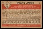 1953 Bowman Black and White #30  Walker Cooper  Back Thumbnail