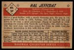 1953 Bowman Black and White #37  Hal Jeffcoat  Back Thumbnail