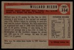 1954 Bowman #114  Willard Nixon  Back Thumbnail