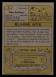 1974 Topps #2  Blaine Nye  Back Thumbnail