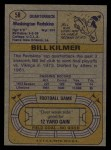 1974 Topps #58 ONE Billy Kilmer  Back Thumbnail