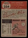 1953 Topps #254  Preacher Roe  Back Thumbnail