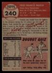 1953 Topps #240  Fred Marsh  Back Thumbnail