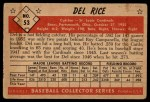 1953 Bowman #53  Del Rice  Back Thumbnail