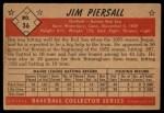 1953 Bowman Black and White #36  Jimmy Piersall  Back Thumbnail