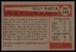 1954 Bowman #145 ALL Billy Martin  Back Thumbnail
