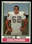 1974 Topps #397  Jim Langer  Front Thumbnail