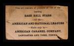 1922 E121-120 American Caramel  Emil Meusel  Back Thumbnail