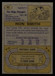 1974 Topps #45  Ron Smith  Back Thumbnail