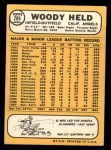 1968 Topps #289  Woodie Held  Back Thumbnail