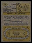 1974 Topps #36  Walt Sumner  Back Thumbnail