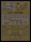 1974 Topps #20  Coy Bacon  Back Thumbnail