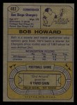 1974 Topps #483  Bob Howard  Back Thumbnail