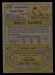 1974 Topps #279  Billy Parks  Back Thumbnail