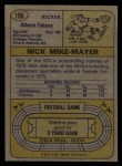 1974 Topps #186  Nick Mike-Mayer  Back Thumbnail