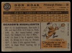 1960 Topps #373  Don Hoak  Back Thumbnail