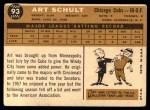 1960 Topps #93  Art Schult  Back Thumbnail