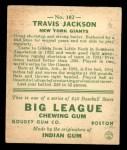 1933 Goudey #102  Travis Jackson  Back Thumbnail