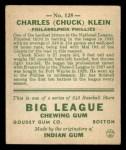 1933 Goudey #128  Chuck Klein  Back Thumbnail