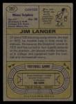 1974 Topps #397  Jim Langer  Back Thumbnail