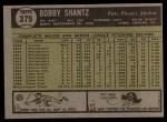 1961 Topps #379  Bobby Shantz  Back Thumbnail