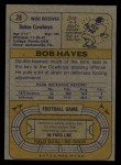 1974 Topps #28 ONE Bob Hayes  Back Thumbnail