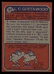 1973 Topps #165  L.C. Greenwood  Back Thumbnail