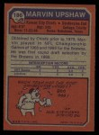 1973 Topps #186  Marvin Upshaw  Back Thumbnail