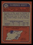 1973 Topps #221  Clarence Scott  Back Thumbnail