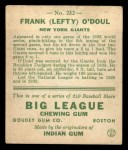 1933 Goudey #232  Lefty O'Doul  Back Thumbnail