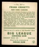1933 Goudey #217  Frank Crosetti  Back Thumbnail