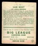 1933 Goudey #166  Sam West  Back Thumbnail