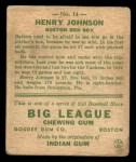 1933 Goudey #14  Henry Johnson  Back Thumbnail