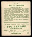 1933 Goudey #221  Dale Alexander  Back Thumbnail
