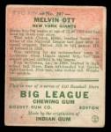 1933 Goudey #207  Mel Ott  Back Thumbnail