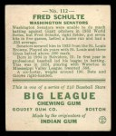 1933 Goudey #112  Fred Schulte  Back Thumbnail
